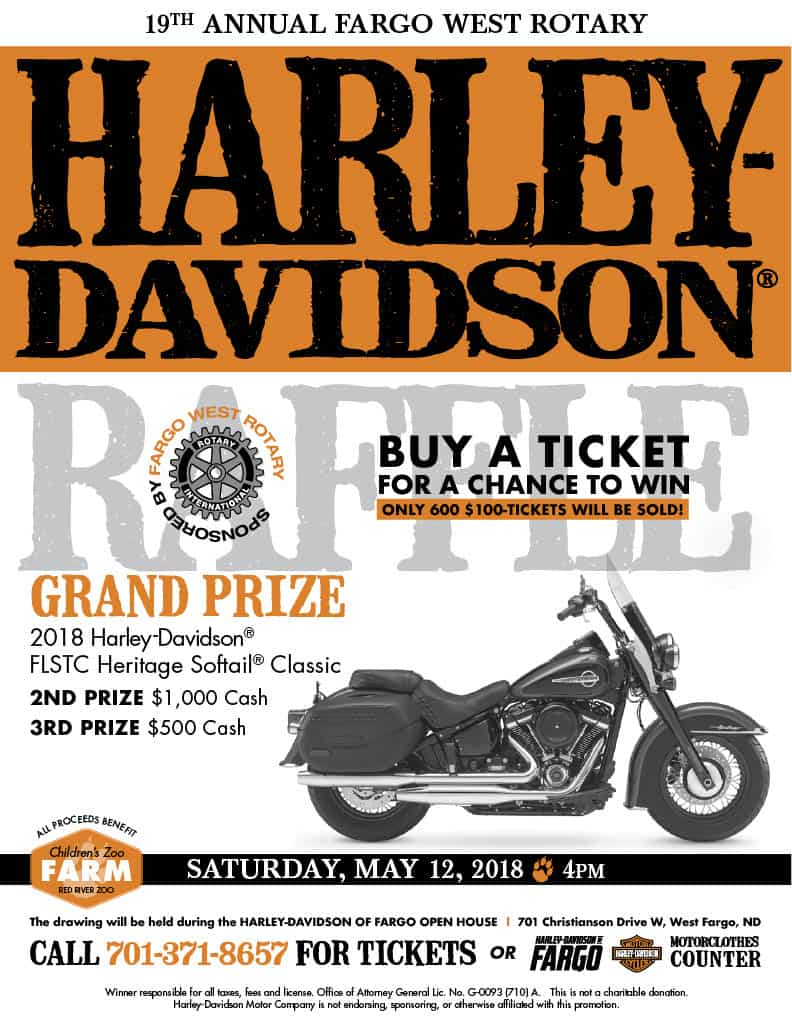 18th Annual Fargo West Rotary Harley-Davidson Raffle - Red River Zoo